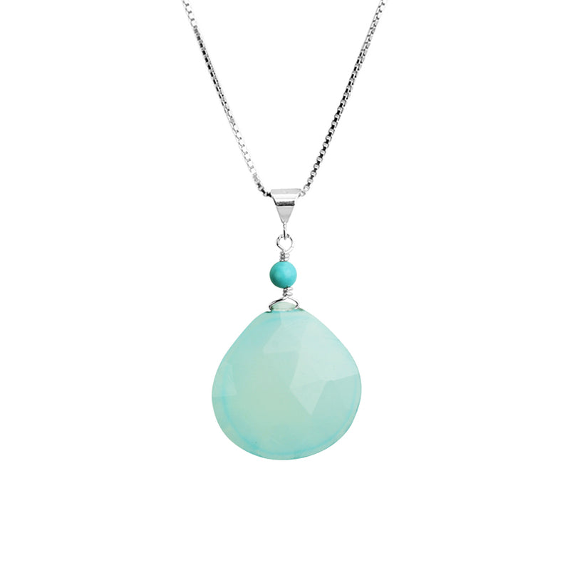 Gorgeous Faceted Blue Chalcedony Sterling Silver Necklace