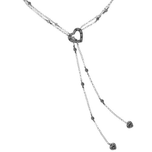 Romantic Heart Marcasite Sterling Silver Tie-Lariat Style Necklace