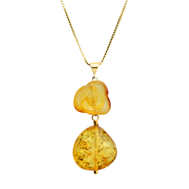 Beautiful Carved Baltic Amber Flower Vermeil Necklace