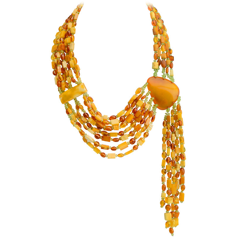 Gorgeous Polish Designer Baltic Amber Runway Statement Necklace