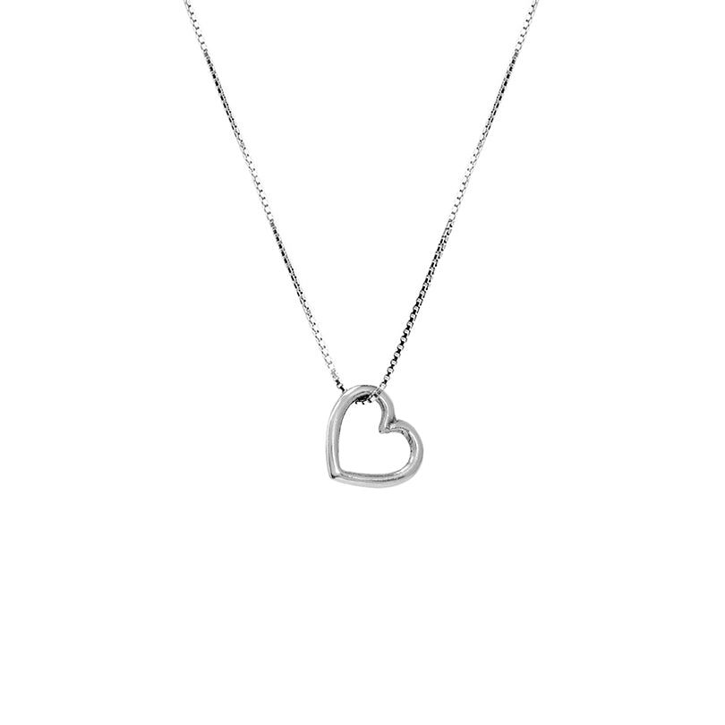 Delicate Floating Heart on Rhodium Plated Sterling Silver Chain Necklace