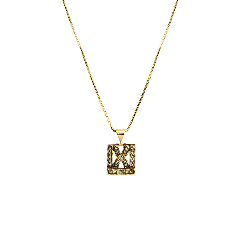Delicate Art Deco Style Gold Plated Marcasite Emblem on Italian Gold Plated silver Chain Necklace