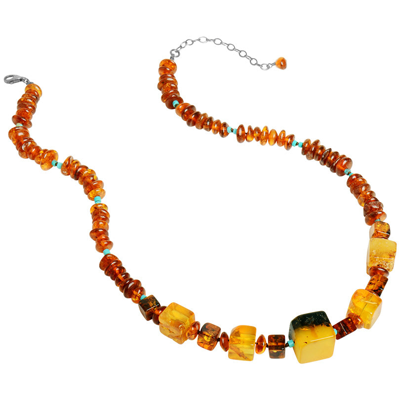 Gorgeous Natural Mixed Baltic Amber Necklace With Turquoise Accents.  Only One!