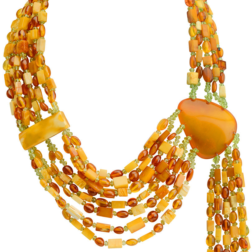 Gorgeous Polish Designer Baltic Amber Runway Statement Necklace 17""