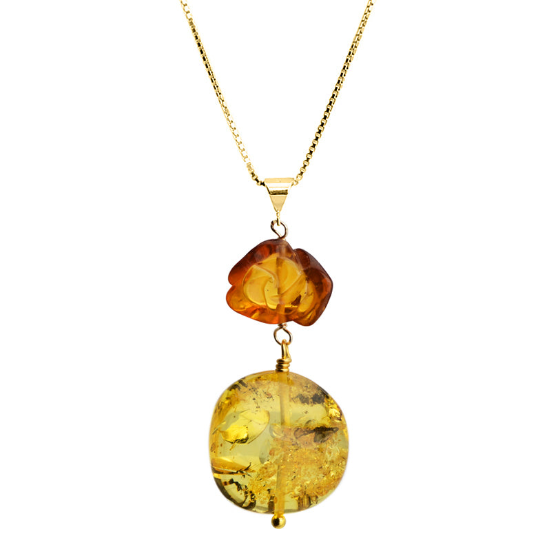 Beautiful Baltic Amber Carved Flower Italian Gold Plated Sterling Silver Necklace