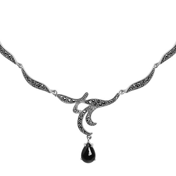 Elegant Eternal Romance Black Onyx And Marcasite Sterling Silver Necklace