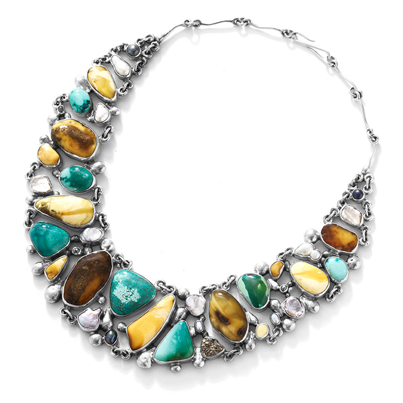 Polish Designer Jan Pomianowski Magnificent Amber and Turquoise Statement Necklace