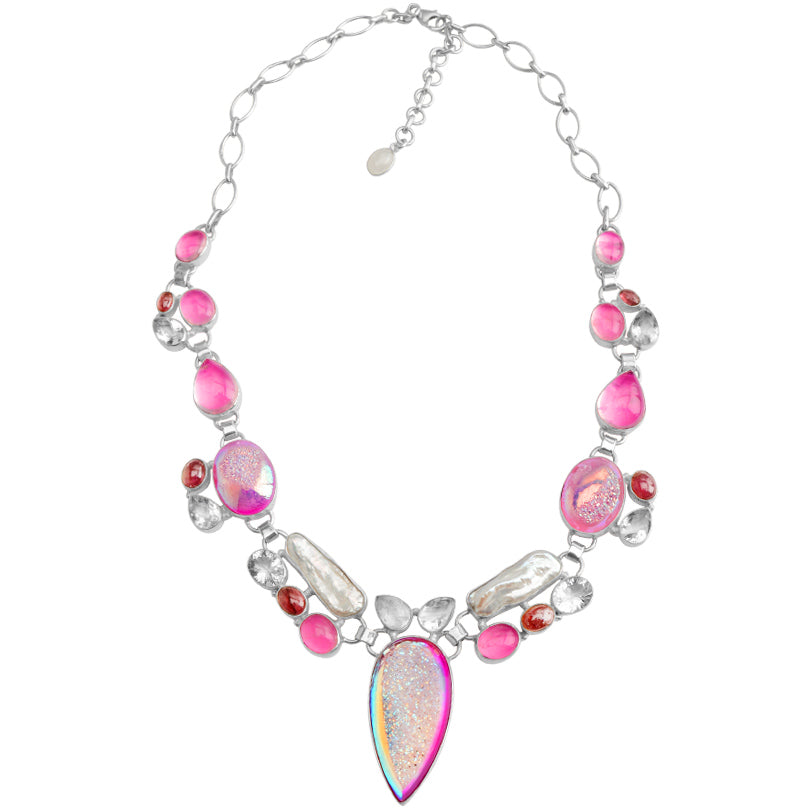 Glamorous Pink Titanium Drusy and Beautful Tourmaline Sterling Silver Statement Necklace