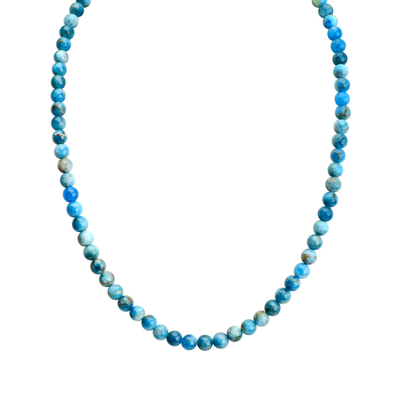"Gorgeous Hues of Blue Apatite Single Strand Sterling Silver Necklace 16"" - 18"""