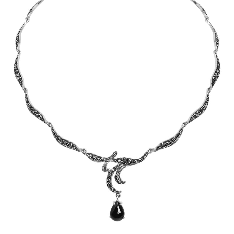 Elegant Romance Black Onyx and Marcasite Sterling Silver Necklace