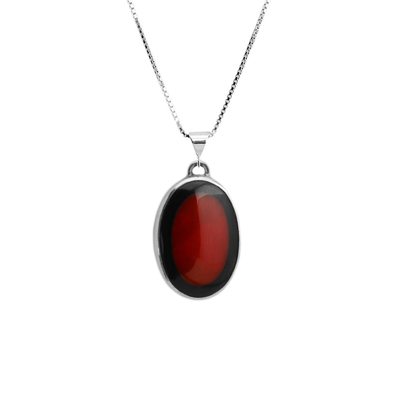 Coral with Black Border Sterling Silver Necklace
