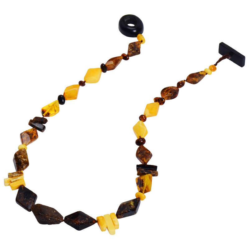 Rich Earthy Colors of Natural Mixed Baltic Amber Necklace-19