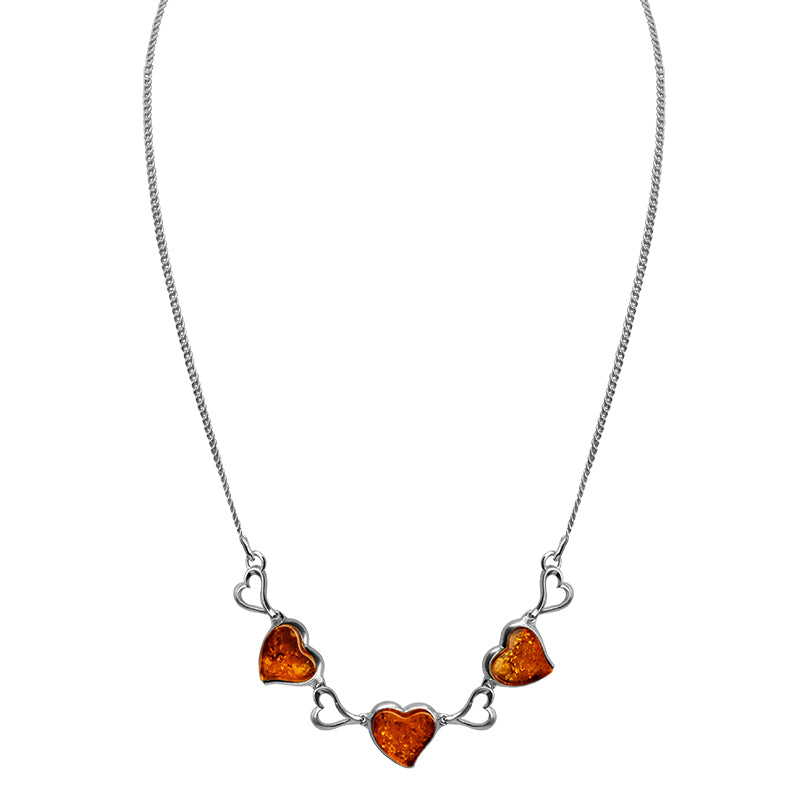 Beautiful Cognac Baltic Amber Hearts Sterling Silver Heart Necklace