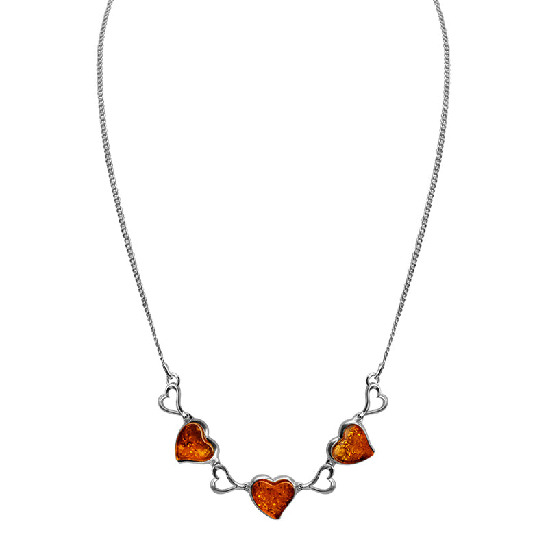 Beautiful Cognac Baltic Amber Hearts Sterling Silver Heart Necklace 16