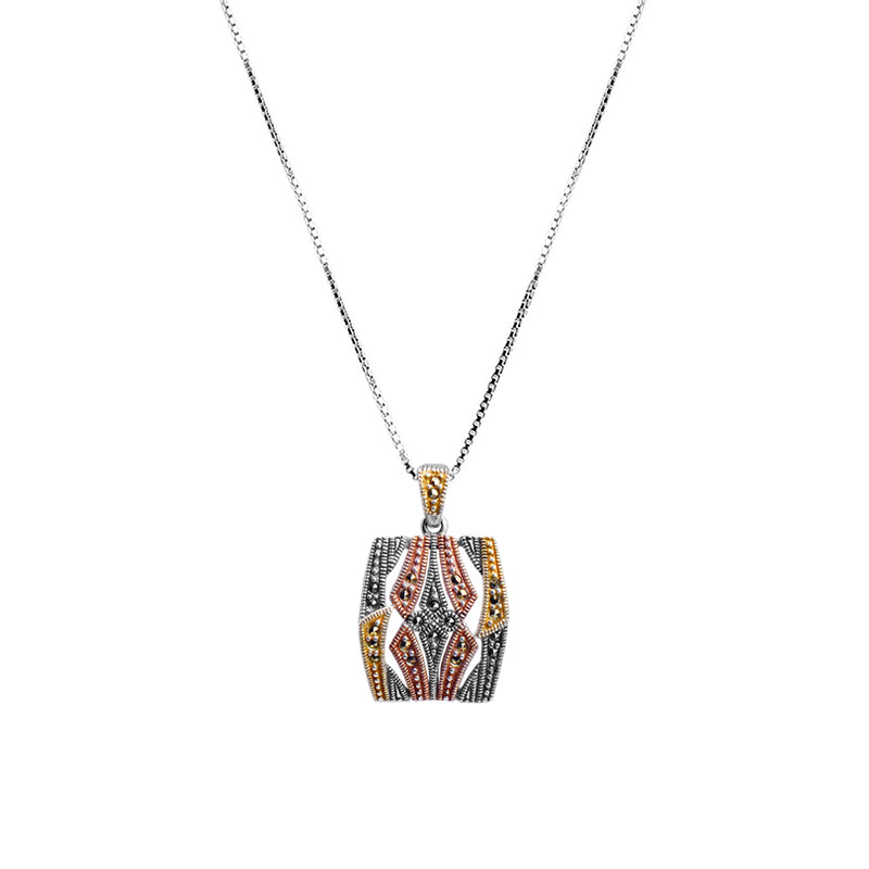 Delicate Tri-Color Marcasite Sterling Silver Necklace