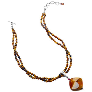 Stunning Strands Of Tiger's Eye with A Stunning Moukaite Pendant & Garnet Accent Sterling Silver Necklace