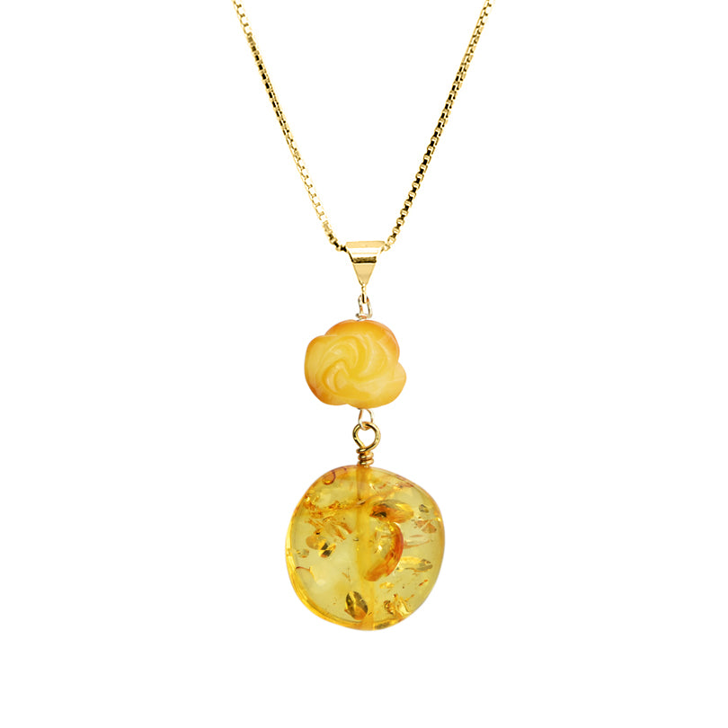 Darling Carved Butterscotch Flower and Light Cognac Baltic Amber Vermeil Necklace