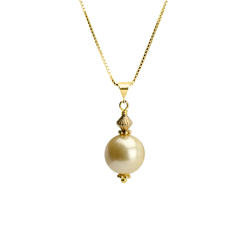 Golden Shell Pearl on Gold Plated Sterling Silver Italian Necklace