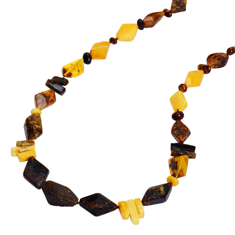"Rich Earthy Colors of Natural Mixed Baltic Amber Necklace-19""-only one"