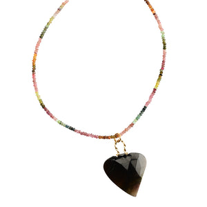 Large Natural Faceted Tourmaline Stone on Tourmaline Beaded Neckline Necklace 17""