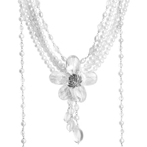 Ice Quartz and Freshwater Pearl Flower Statement Necklace