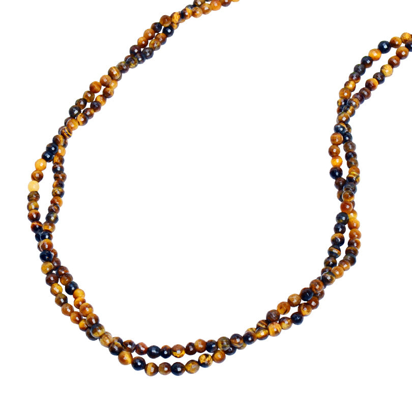 "Luxurious Shimmering Faceted Tiger's Eye 2 Strand Necklace 16"" - 18"""