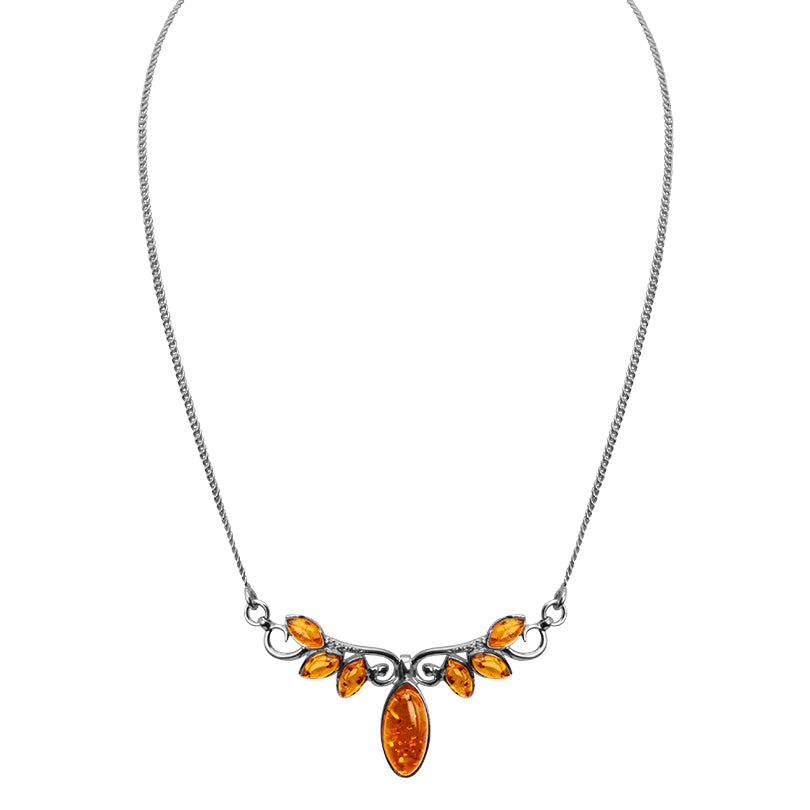 "Lovely Honey Cognac Baltic Amber Sterling Silver Necklace 15"" - 17"""