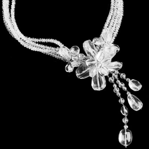 "Exquisite, Shimmering Faceted Quartz Sterling Silver Flower Statement Necklace 16.5"" - 18 1/2"""
