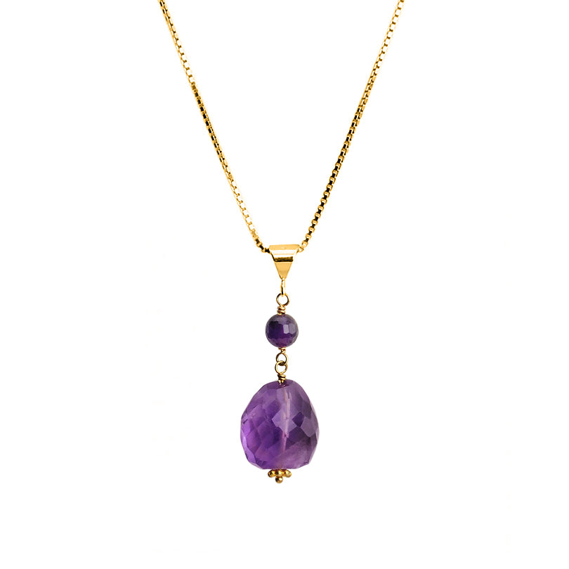 "Amethyst Vermeil Italian Chain Necklace 16"" - 18"""