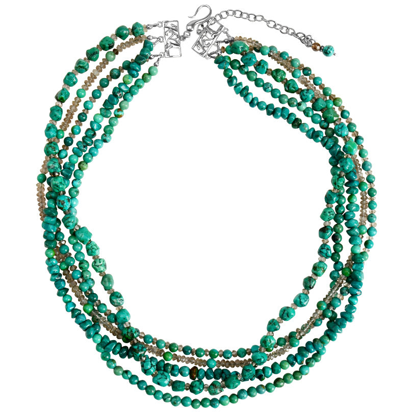 Exquisite Strands of Genuine Turquoise and Smoky Quartz Sterling Silver Necklace