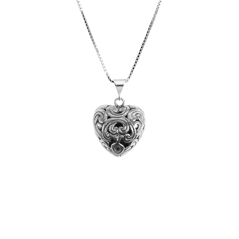 "Darling Small Filigree Heart Sterling Silver Necklace with Scroll Design 16"" - 18"""