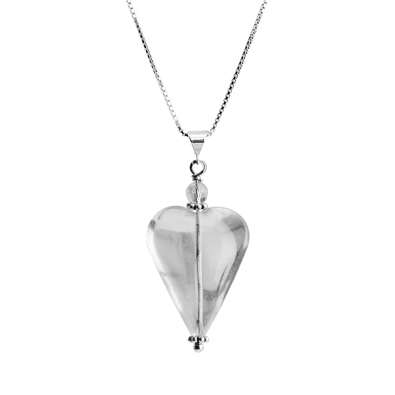 "Lovely Clearl Crystal Quartz Heart Sterling Silver Necklace 16"" - 18"""