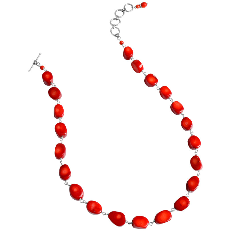 Lovely Red Coral Small Stone Sterling Silver Toggle Necklace