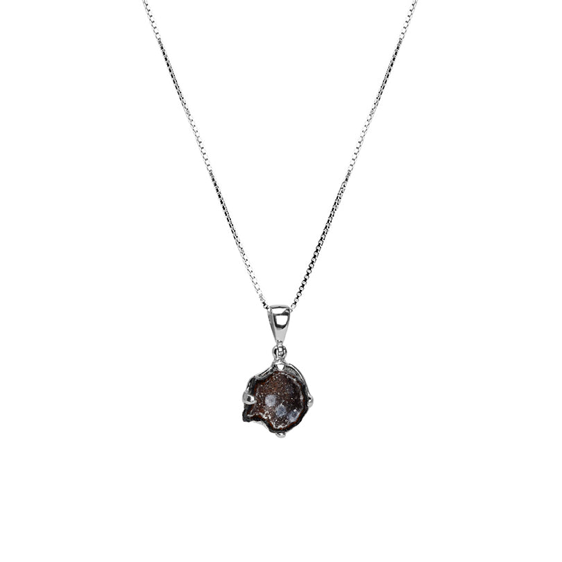 "Petite Sparkling Starborn Geode Sterling Silver Necklace 16"" - 18"""