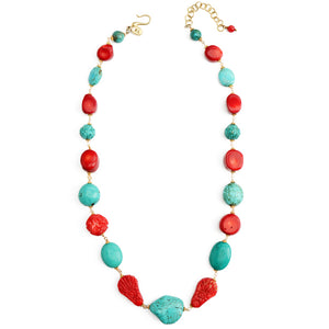 "Gorgeous ""Mardi Gras"" Turquoise and Carved Coral Flowers Statement Necklace"