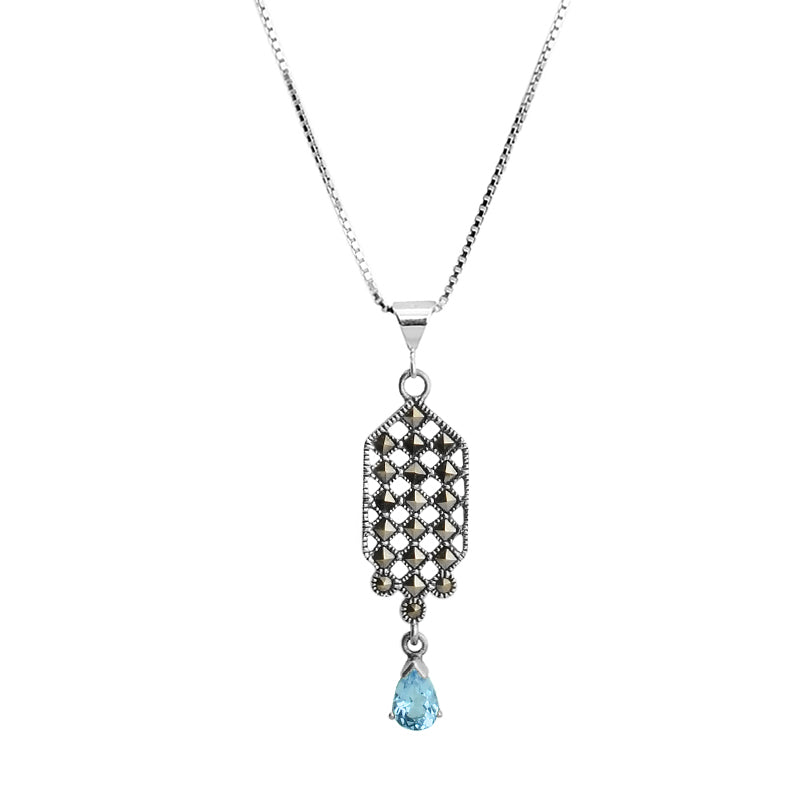 Blue Topaz And Marcasite Sterling Silver Necklace