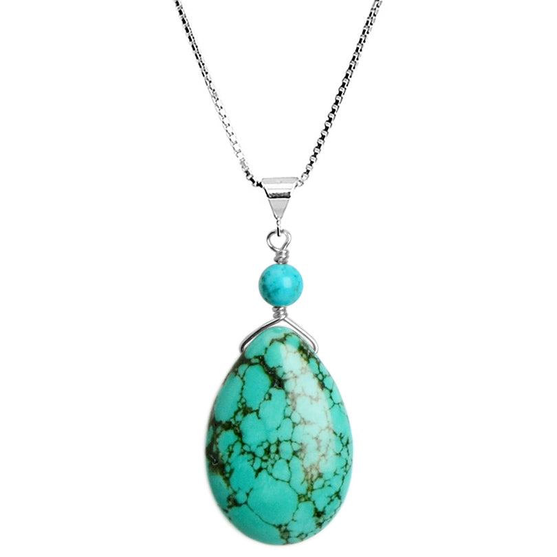 "Sea Foam Blue-Green Chalk Turquoise Sterling Silver Necklace 16"" - 18"""