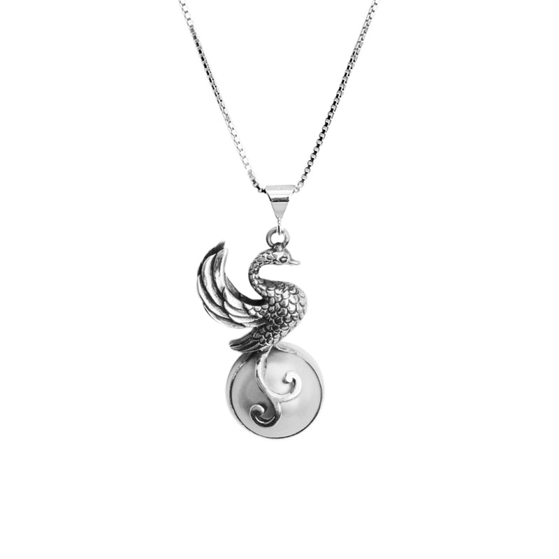 Elegant Silver Bird on White Mabe Pearl Sterling Silver Necklace