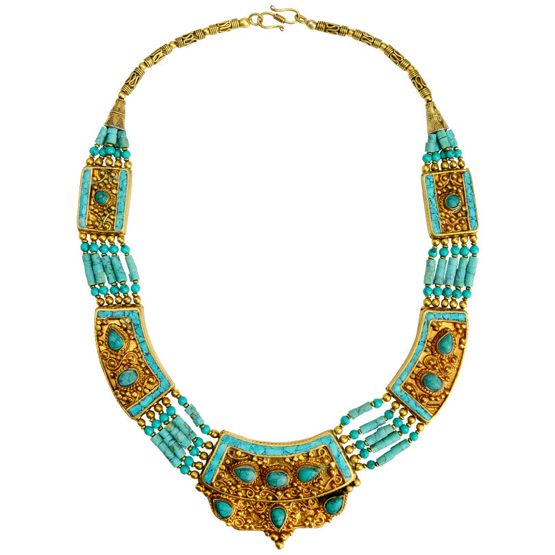 Luxurious Natural Turquoise Double Gold Plated Nepal Statement Necklace