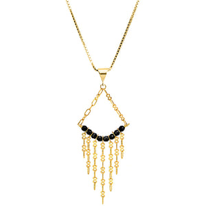 Sexy Black Onyx 18kt Gold Plated Silver Chain Necklace