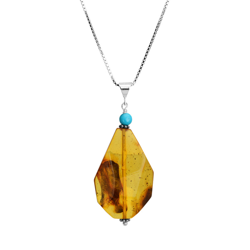 Wave Cut Cognac Baltic Amber Pendant with Sleeping Beauty Turquoise Sterling Silver Necklace