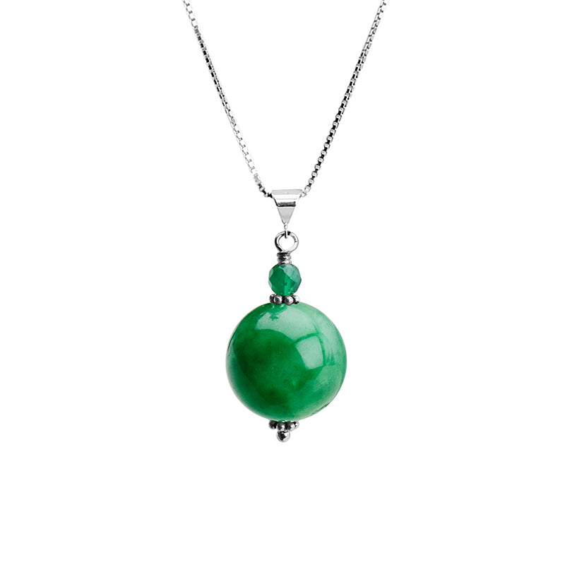 Apple Green Jade Sterling Silver Necklace