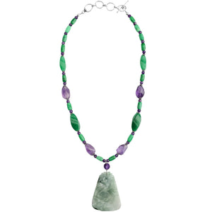 Natural Burmese Carved Jade, Amethyst and Aventurine Sterling Silver Necklace 19""