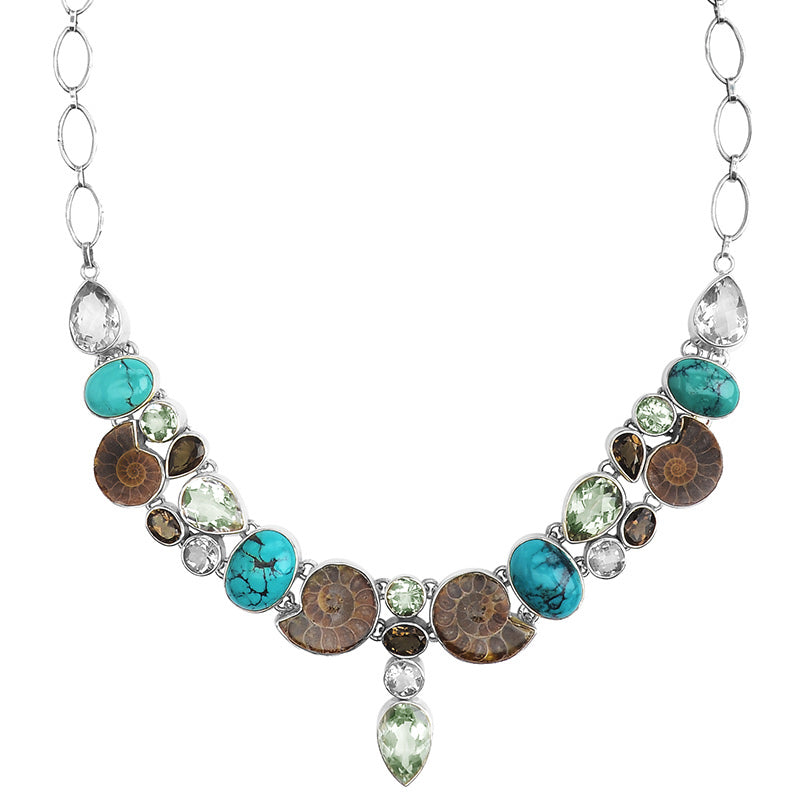 Stunning Ammonite, Turquoise and Green Amethyst Sterling Silver Statement Necklace