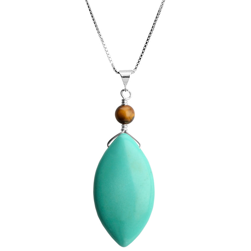 Blue Chalk Turquoise and Tiger's Eye Sterling Silver Necklace