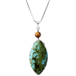 Chalk Turquoise and Tiger's Eye Sterling Silver Necklace