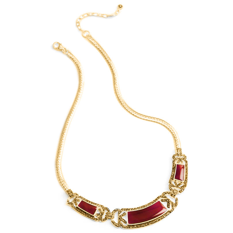 Beautiful Carnelian and Marcasite Gold Plated Necklace