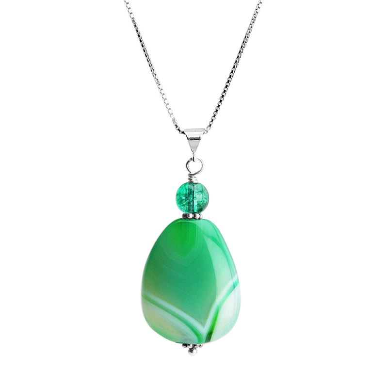 Green Agate and Tourmaline Color Glass Sterling Silver Necklace