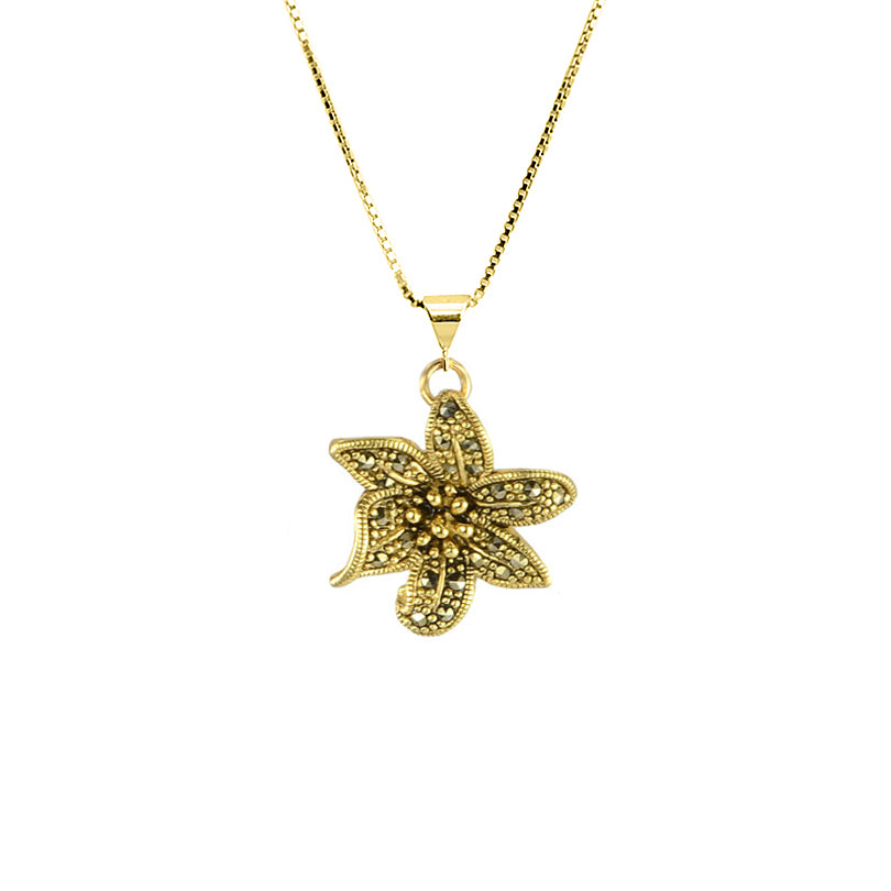 Gold Plated Marcasite Flower on Italian Gold Plated Sterling Silver Chain Necklace
