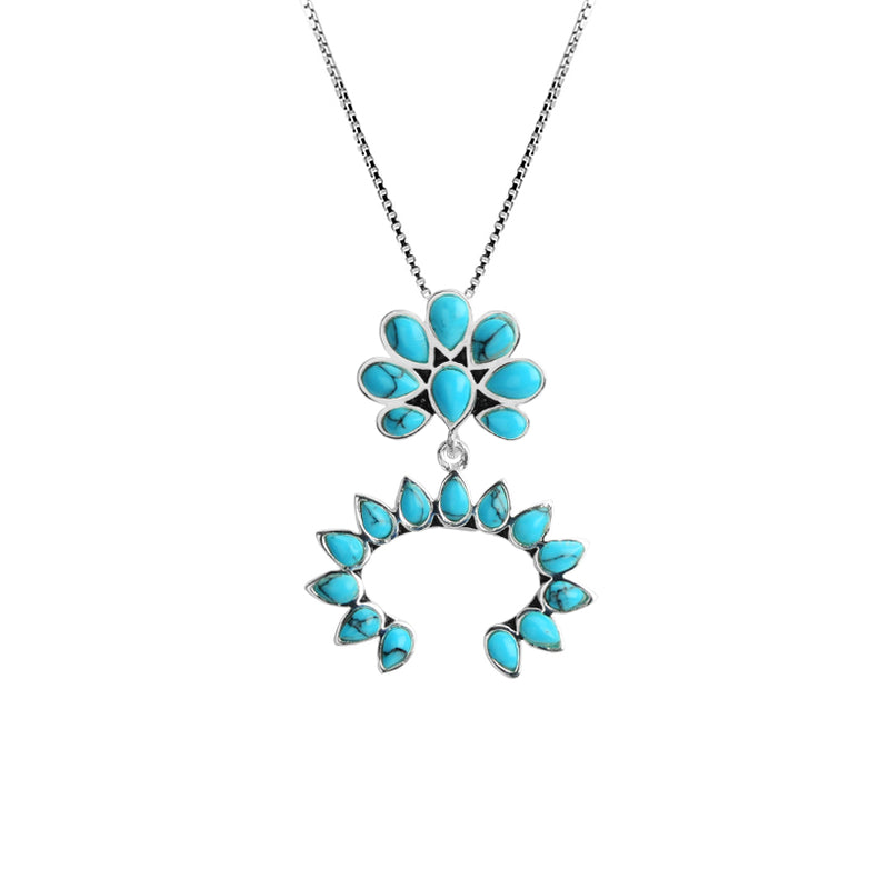 Delicate Squash Blossom Design Turquoise Color Stones Silver Plated Necklace